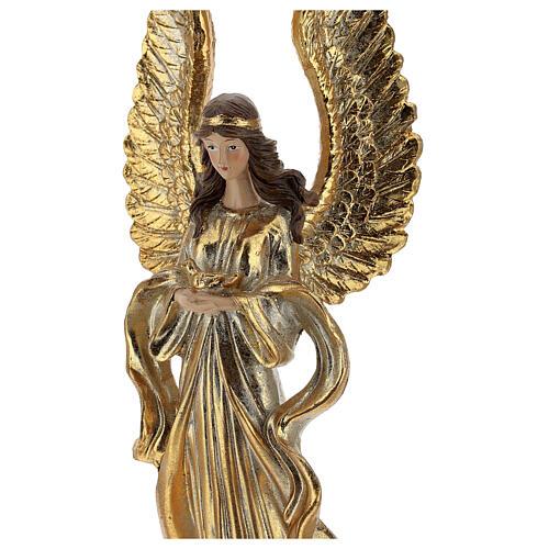 Ange de Noël ailes longues décoration or 32 cm 2