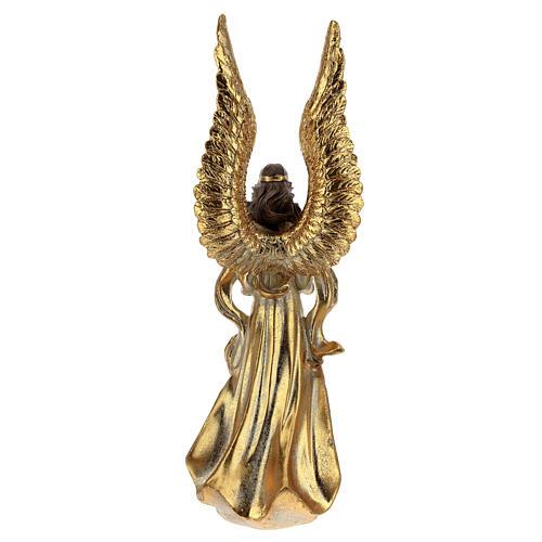 Ange de Noël ailes longues décoration or 32 cm 5