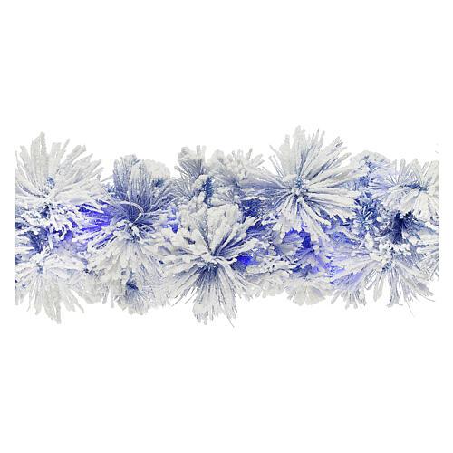 STOCK Feston Noël sapin bleu enneigé 270 cm avec 50 LED bleus 1