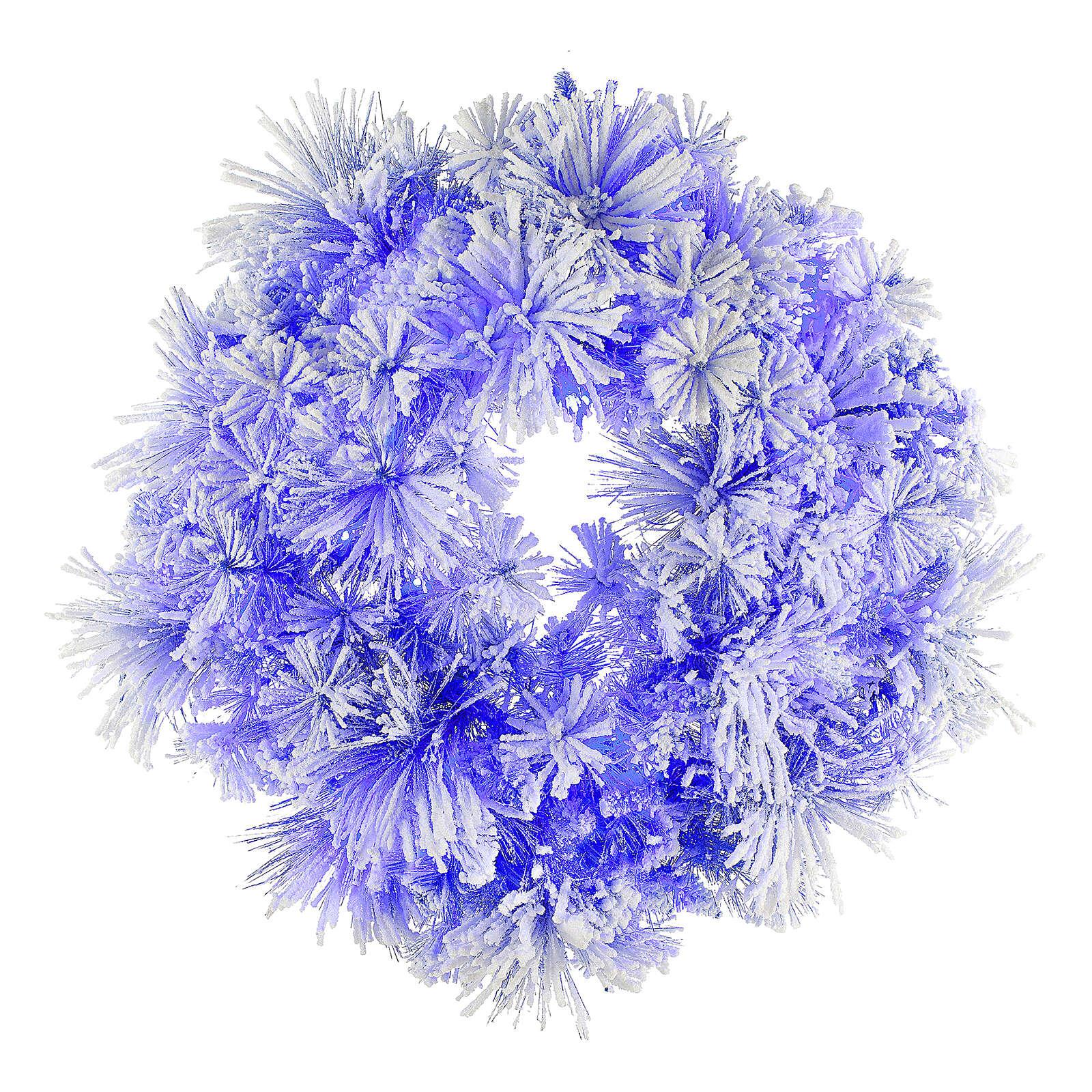STOCK Corona Natalizia pino blu innevato diametro 80 con 50 luci led 3