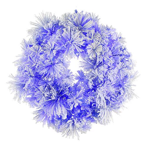 STOCK Corona Natalizia pino blu innevato diametro 80 con 50 luci led 1