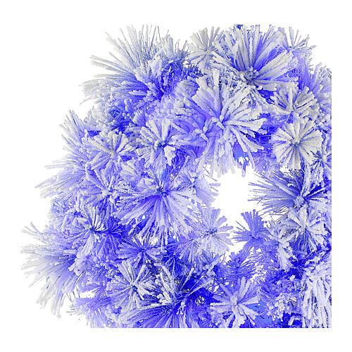STOCK Corona Natalizia pino blu innevato diametro 80 con 50 luci led 2