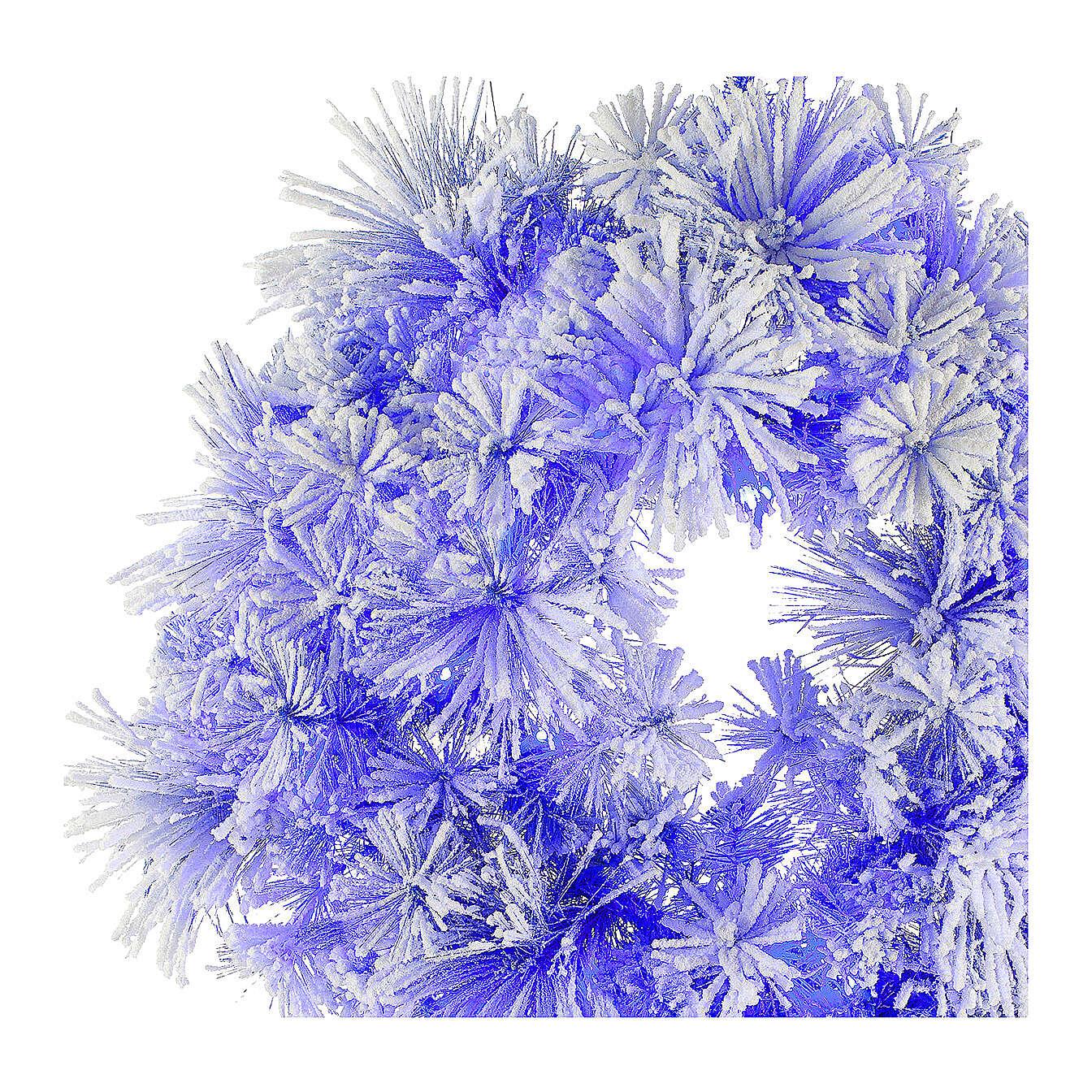 STOCK Korona Bożonarodzeniowa niebieska sosna ośnieżona, średnica 80 cm z 50 światełkami led 3