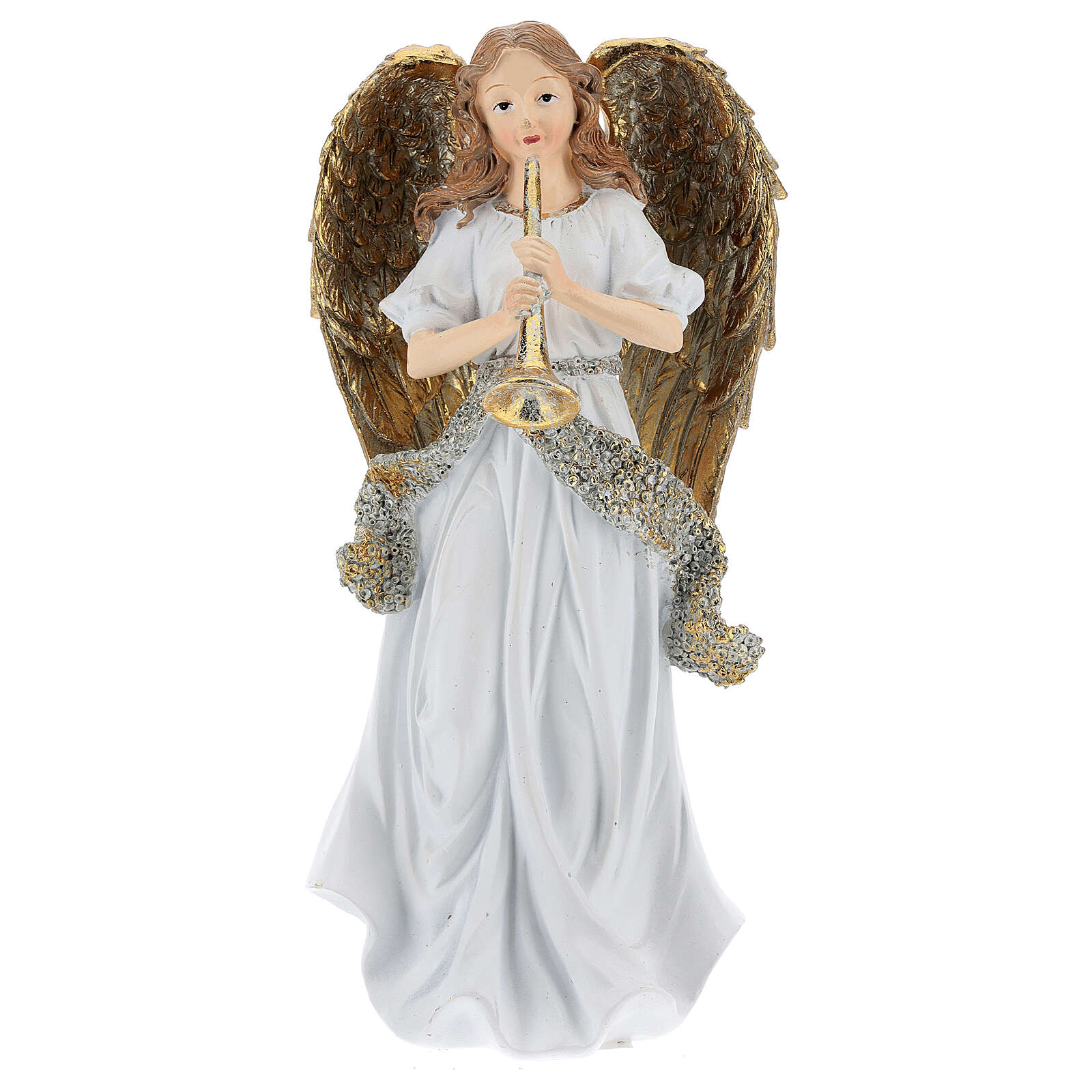 Christmas angel in resin with trumpet 25 cm 3