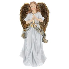 Christmas angel in resin with trumpet 25 cm s1