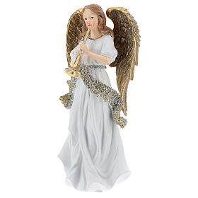 Christmas angel in resin with trumpet 25 cm s2