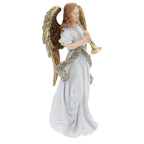 Christmas angel in resin with trumpet 25 cm s3