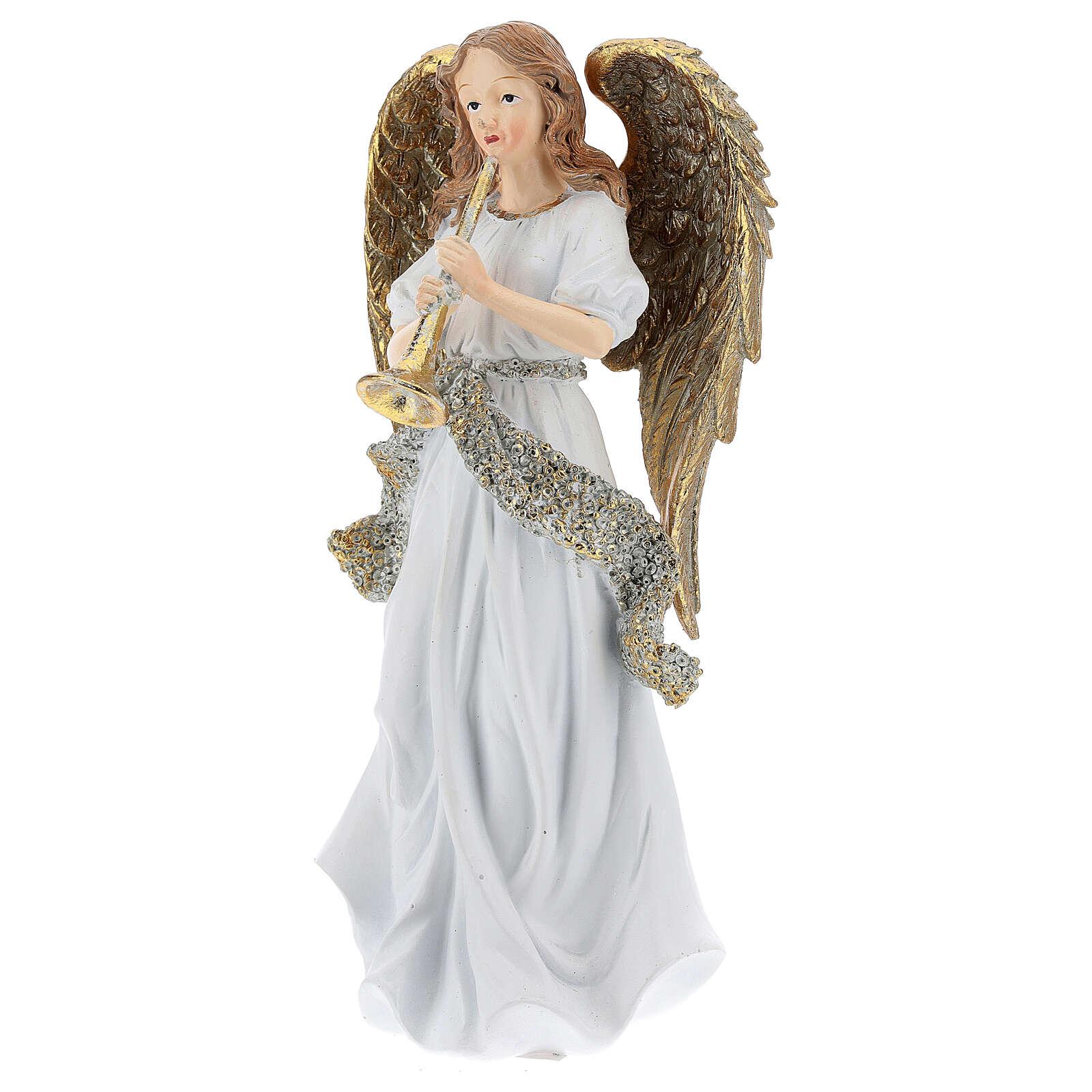 Ange de Noël résine avec trompette 25 cm 3