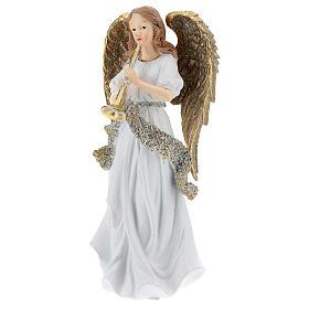 Ange de Noël résine avec trompette 25 cm s2