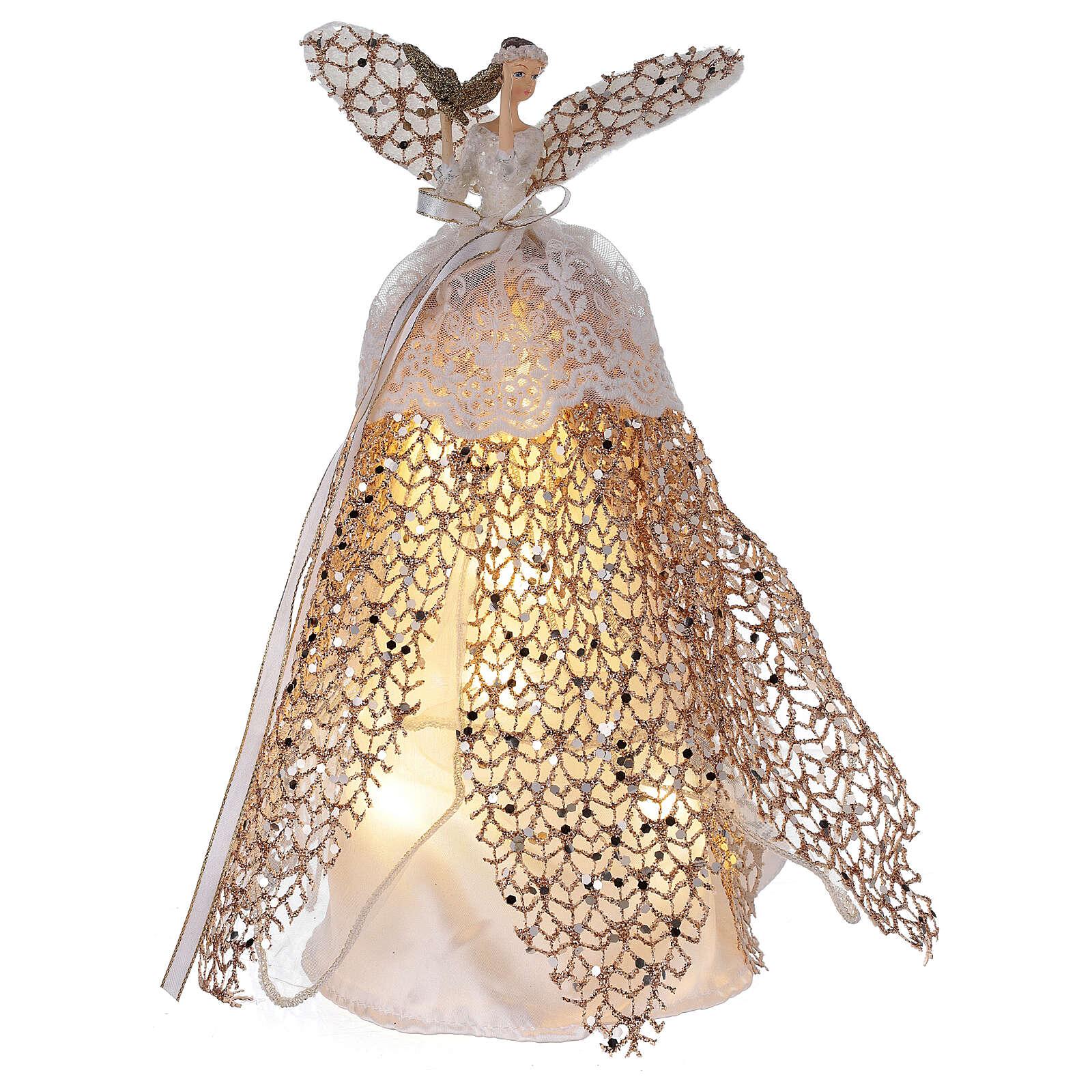 Ange de Noël cimier en résine 27 cm avec LED 3