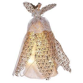 Ange de Noël cimier en résine 27 cm avec LED s1