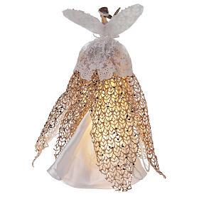 Ange de Noël cimier en résine 27 cm avec LED s5