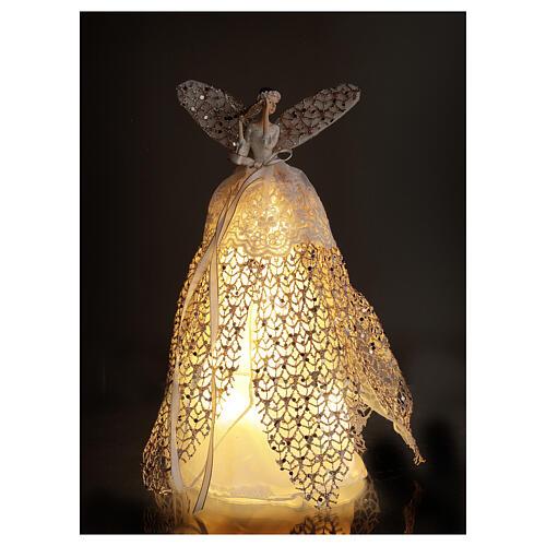 Ange de Noël cimier en résine 27 cm avec LED 2