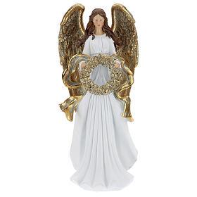 Christmas angel figurine with wreath 35 cm s1