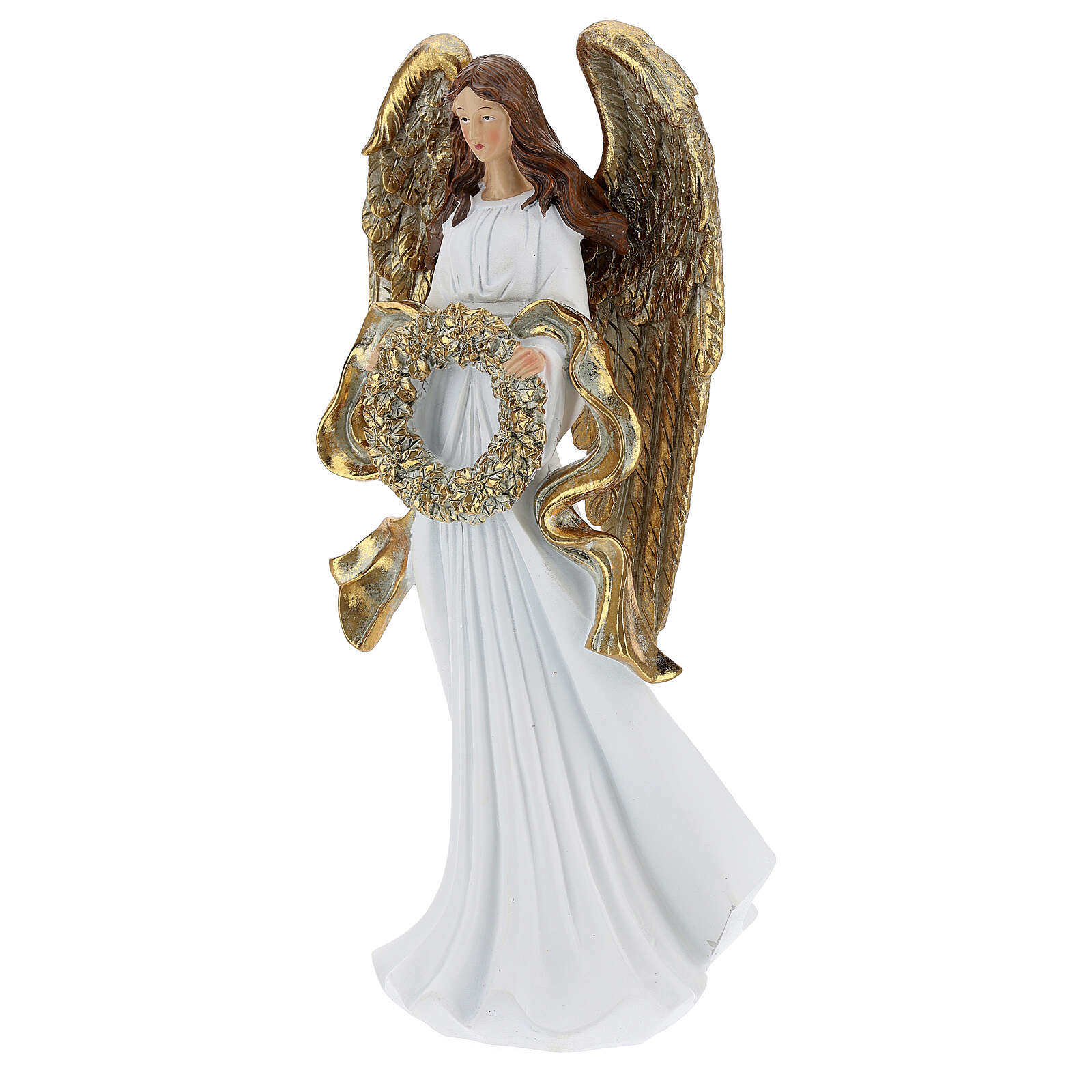 Christmas angel statue 35 cm with wreath 3