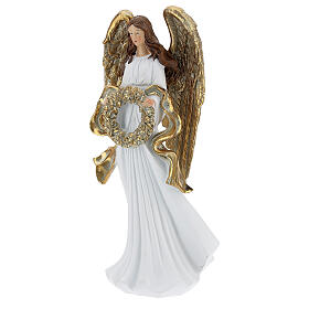 Christmas angel statue 35 cm with wreath s3