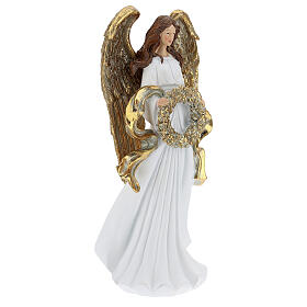 Christmas angel statue 35 cm with wreath s4