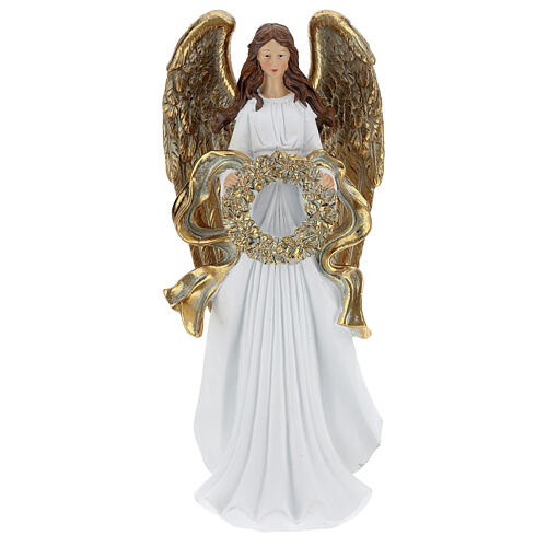 Christmas angel statue 35 cm with wreath 1