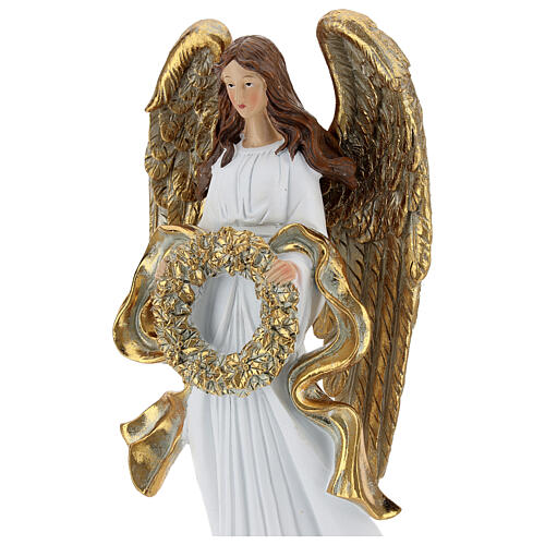 Christmas angel statue 35 cm with wreath 2