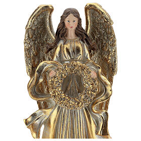 Golden Christmas angel statue 35 cm with wreath s2