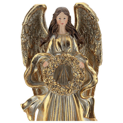 Golden Christmas angel statue 35 cm with wreath 2