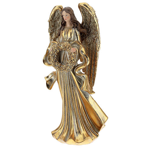 Golden Christmas angel statue 35 cm with wreath 3