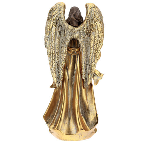 Golden Christmas angel statue 35 cm with wreath 5