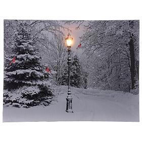 Snowy landscape black white, fiber optic lighted Christmas wall canvas, 30x40 cm s1