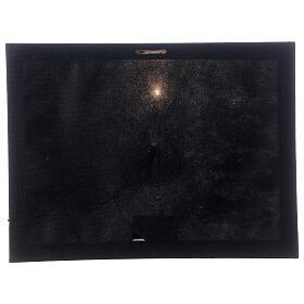 Snowy landscape black white, fiber optic lighted Christmas wall canvas, 30x40 cm s3