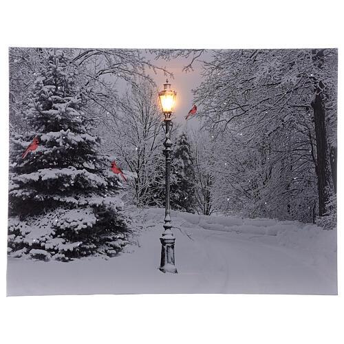 Snowy landscape black white, fiber optic lighted Christmas wall canvas, 30x40 cm 1