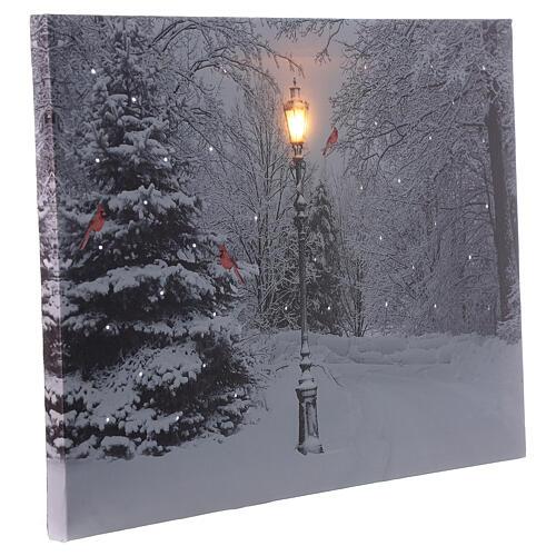 Snowy landscape black white, fiber optic lighted Christmas wall canvas, 30x40 cm 2