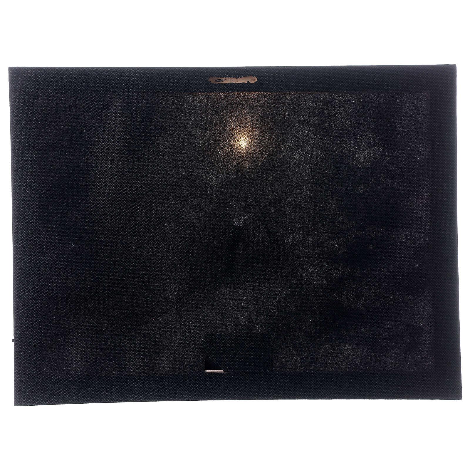 Tableau lumineux fibre optique paysage enneigé noir blanc 30x40 cm 3