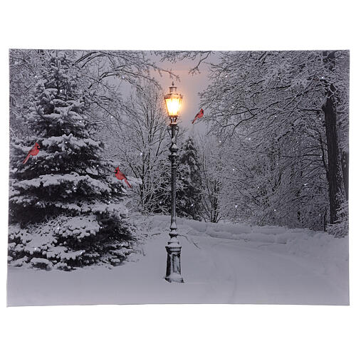Christmas light up picture frame fiber optic snowy landscape white black 30x40 cm 1