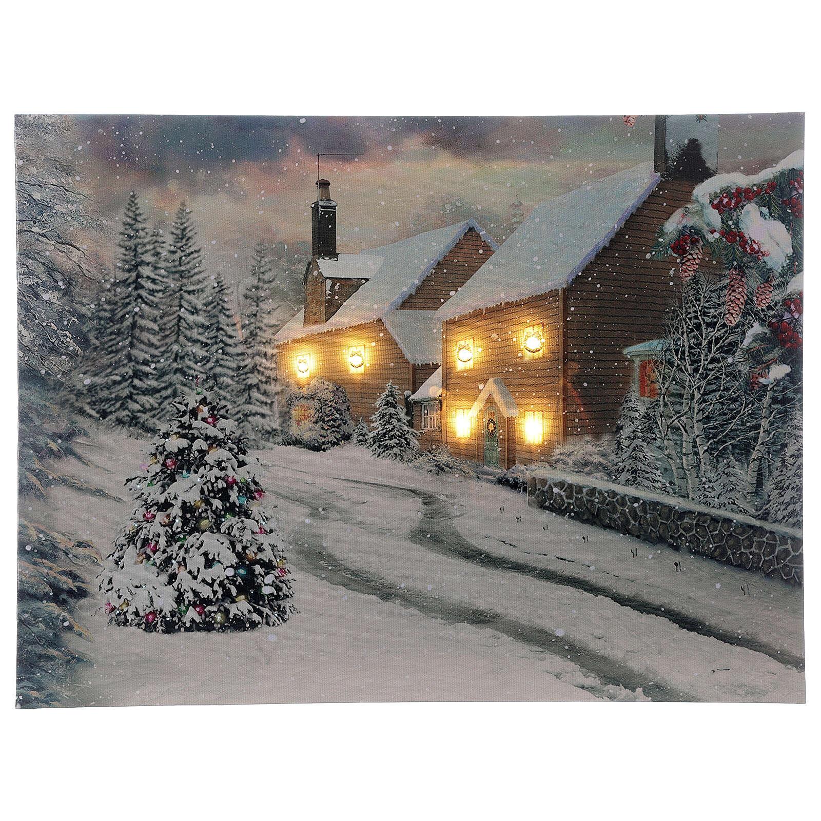 Tableau de Noël village enneigé lumineux fibre optique 30x40 cm 3
