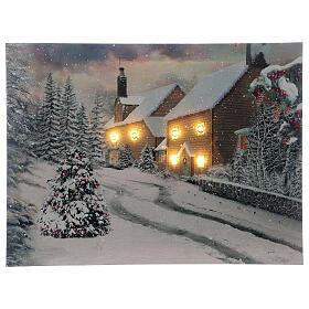 Tableau de Noël village enneigé lumineux fibre optique 30x40 cm s1