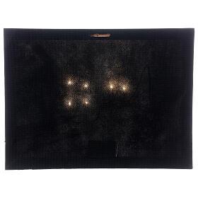 Quadro natalizio villaggio innevato luminoso fibra ottica 30x40 cm s3