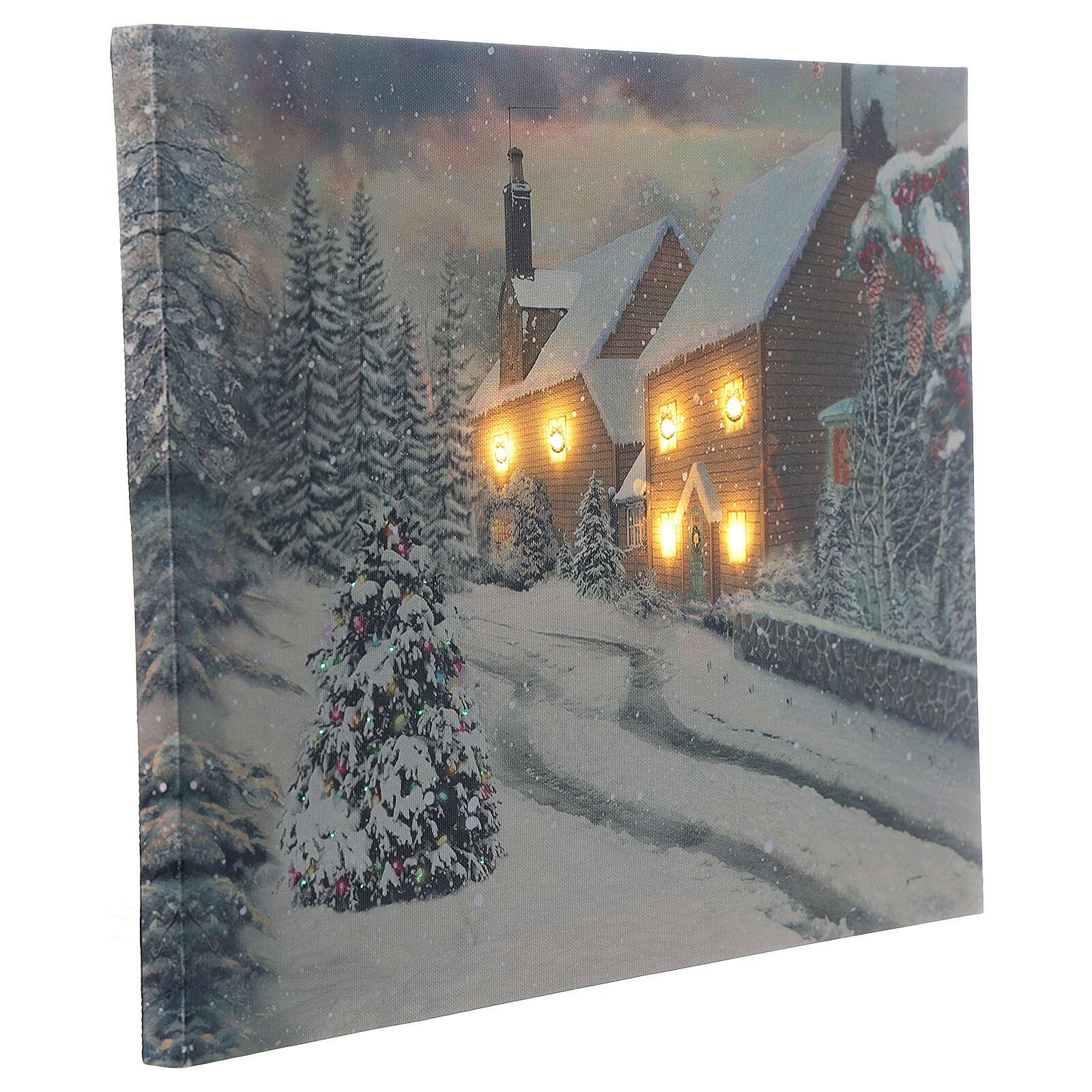 Quadro natalino aldeia nevada iluminada fibra ótica 30x40 cm 3