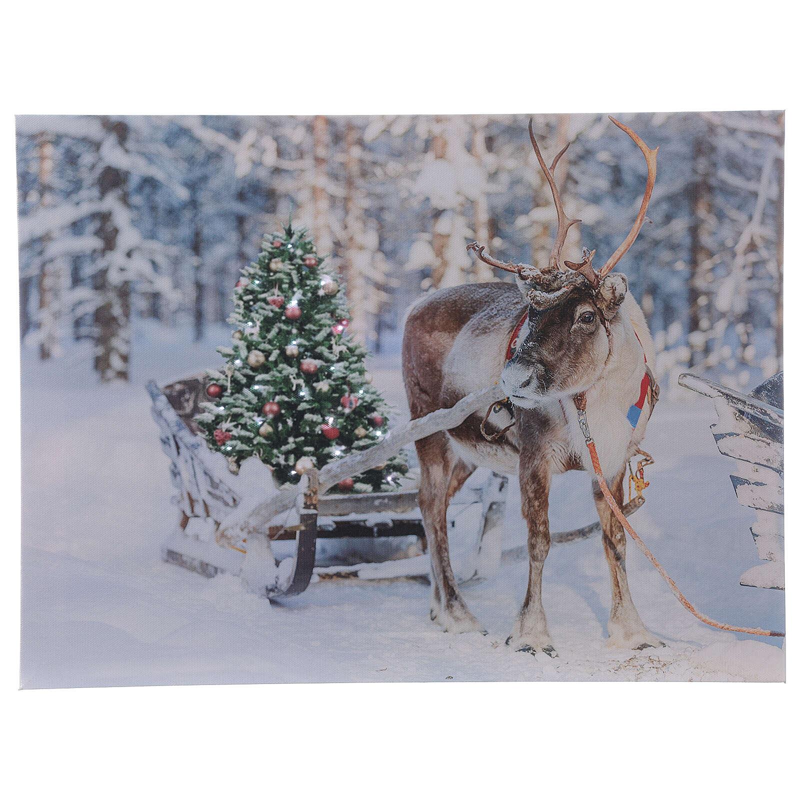 Reindeer with sleigh, fiber optic lighted Christmas wall art, 30x40 cm 3