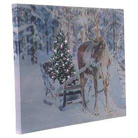 Reindeer with sleigh, fiber optic lighted Christmas wall art, 30x40 cm s2