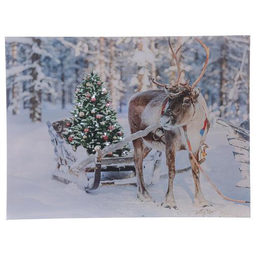 Reindeer with sleigh, fiber optic lighted Christmas wall art, 30x40 cm 1