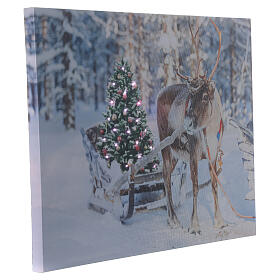 Lighted Christmas picture reindeer tree fiber optic 30x40 cm s2