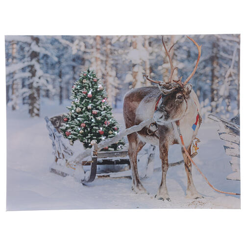 Lighted Christmas picture reindeer tree fiber optic 30x40 cm 1