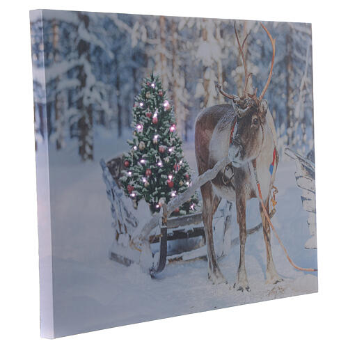 Lighted Christmas picture reindeer tree fiber optic 30x40 cm 2