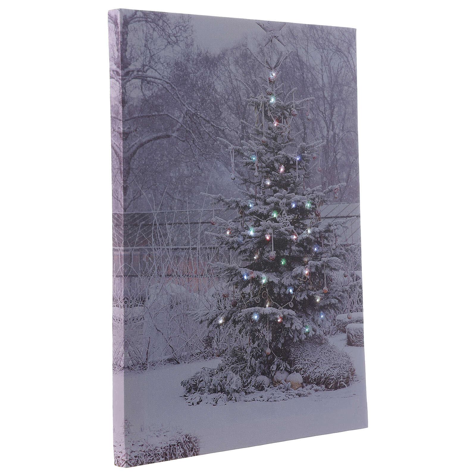 Christmas tree, fiber optic lighted wall canvas, 30x40 cm 3