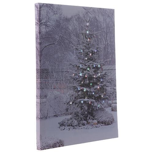 Christmas tree, fiber optic lighted wall canvas, 30x40 cm 2