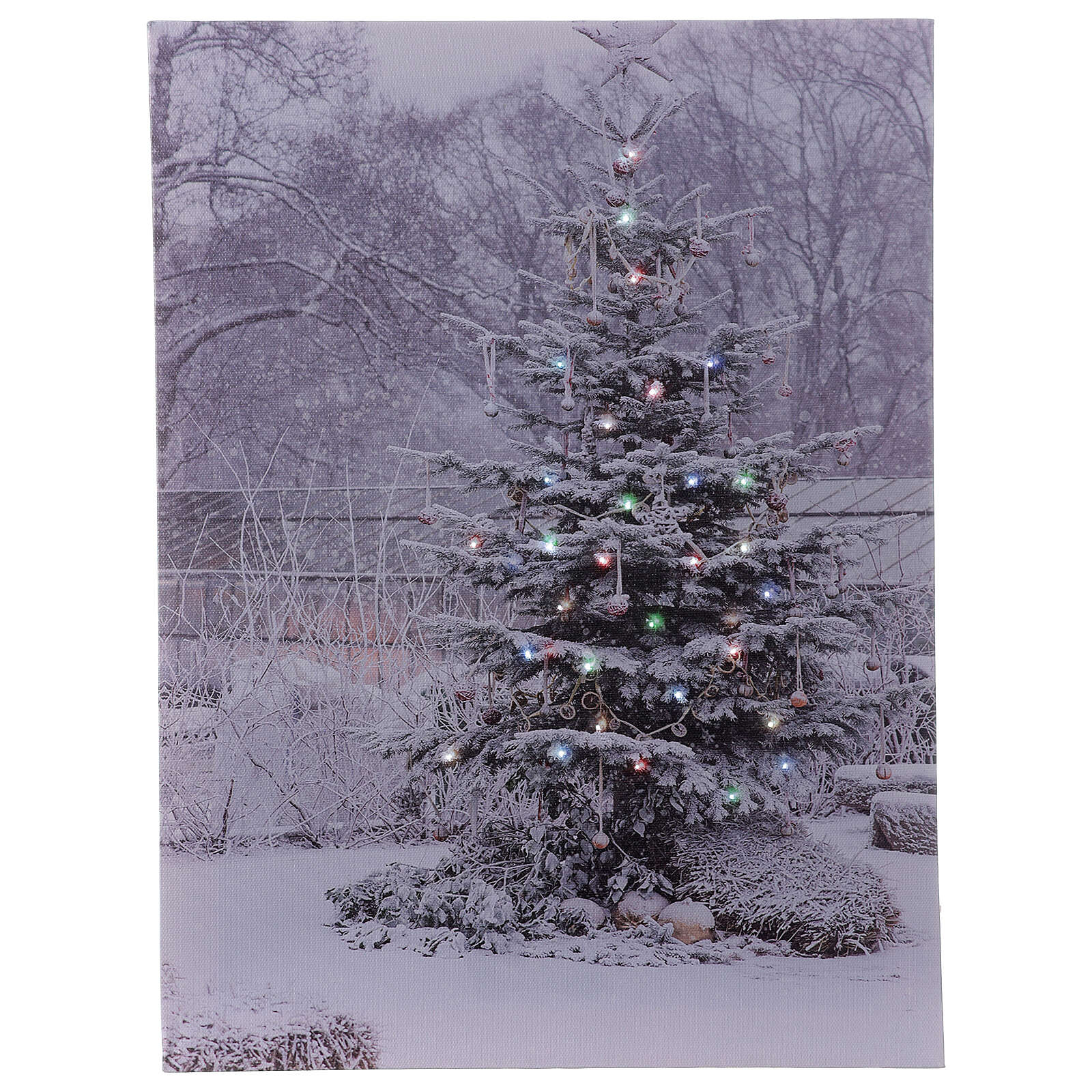 Snowy Christmas tree picture frame fiber optic 40x30 cm 3