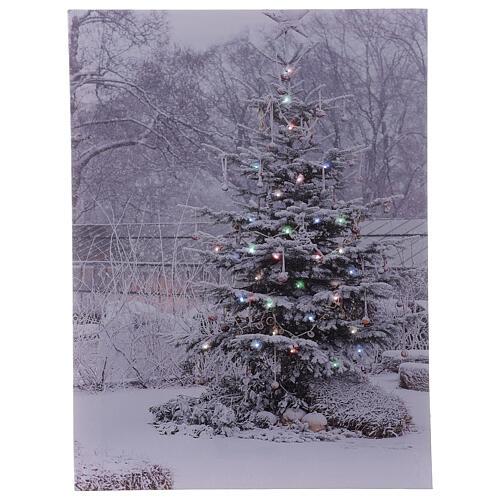 Snowy Christmas tree picture frame fiber optic 40x30 cm 1