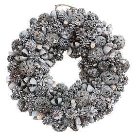Ghirlanda natalizia corona avvento glitter argento 25 cm s1