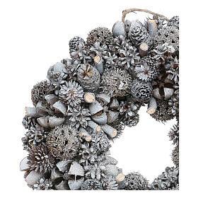 Ghirlanda natalizia corona avvento glitter argento 25 cm s2