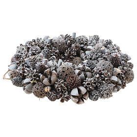 Ghirlanda natalizia corona avvento glitter argento 25 cm s3
